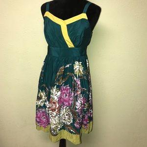 Anthropologie Maeve silk Impressionist Dream dress